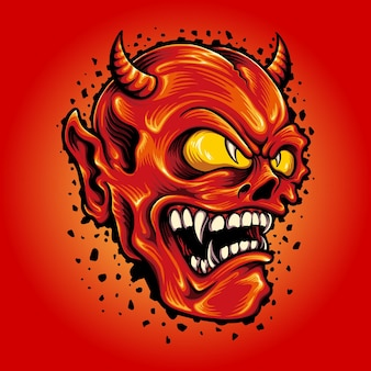 Красный дьявол смайлик мультфильм талисман векторные иллюстрации для вашей работы логотип, товарная футболка талисмана, наклейки и дизайн этикеток, плакат, поздравительные открытки, рекламирующие бизнес-компанию или бренды.