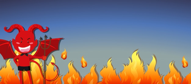 Red devil with fire banner