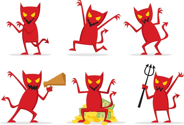 Red devil with many expression and many pose