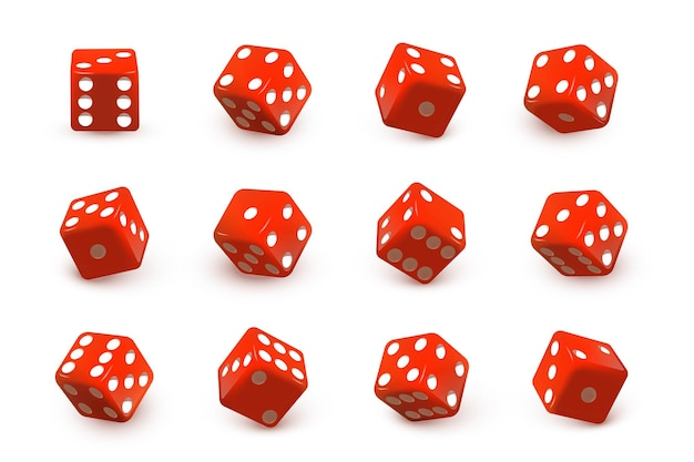 Red dice cubes for gambling set rolling and throwing random numbers with dots isolated on white