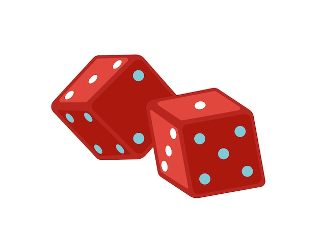 Red dice flat vector illustration. magic equipment. gamble cubes marked with dots. magical show accessories isolated on white background. illusionist attributes. board games, craps design element.