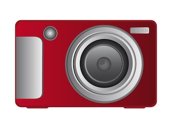 Red digital camera isolated over white background vector
