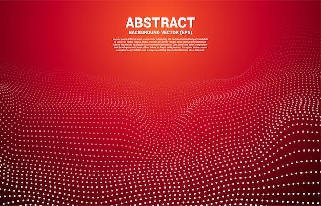 Красная цифровая контурная кривая точка и линия и волна с каркасом. абстрактный фон для концепции 3d футуристической технологии