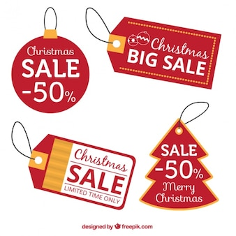 Red discount christmas tags