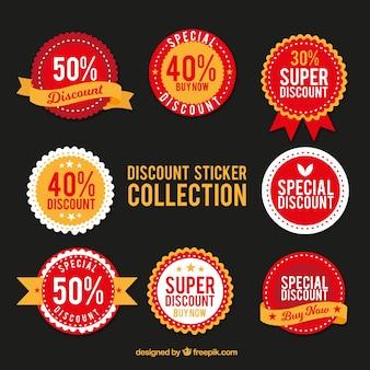 Red discount sticker set