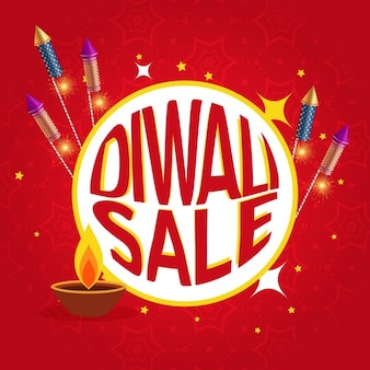 Red discount voucher decorated with fireworks for diwali