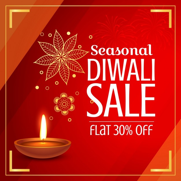 Red discount voucher with a candle for diwali