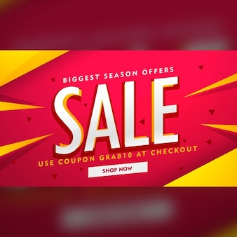 Red discount voucher with yellow geometric shapes
