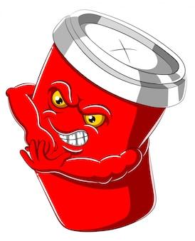 イラストの赤い使い捨て紙コップの漫画のキャラクター