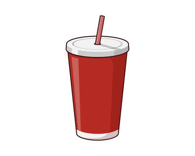 Red disposable paper or plastic beverage cup packaging template with drinking straw for soda or