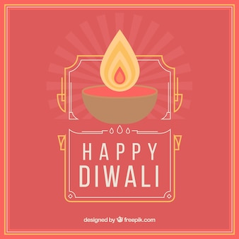Red diwali background with candle