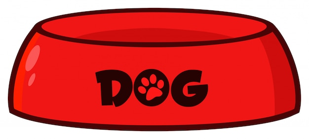 Red dog bowl drawing simple design. illustration isolated on white background