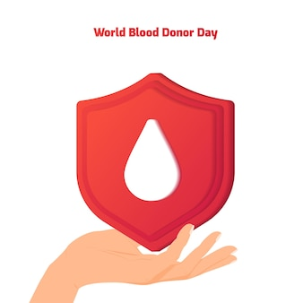 빨간 기증자의 날 세계 헌혈자의 날 헌혈 인명 구조 및 병원 지원 프리미엄 벡터