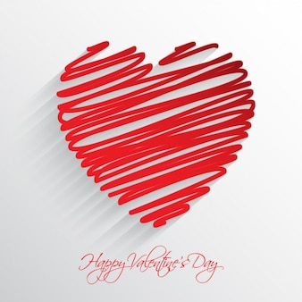 Red doodle heart background