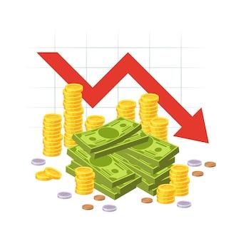 Красная стрелка вниз график акций с кучей наличных денег