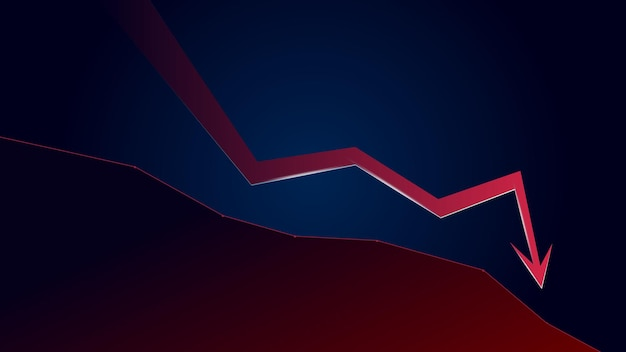Red downtrend arrow and price falls down with copy space on dark blue background. trading crisis and crash. vector illustration.