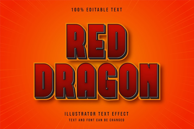 Red dragon, 3d editable text effect red black yellow comic style