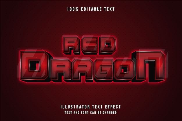 Red dragon,3d editable text effect red gradation neon style effect