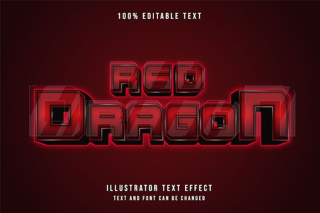 Red dragon, 3d editable text effect.