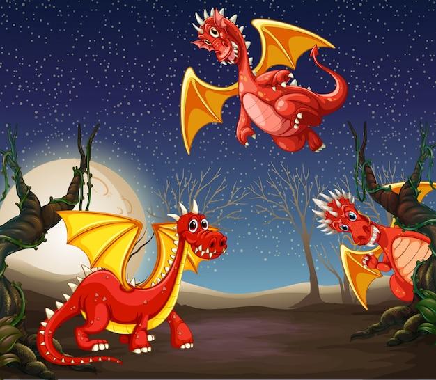 夜のレッドドラゴン Premiumベクター