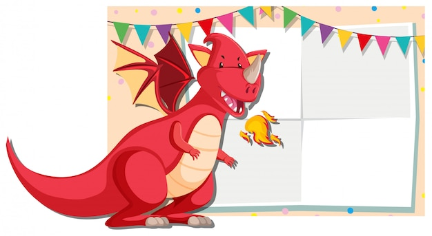 A red dragon banner