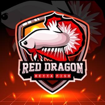 赤いドラゴンベタの魚のマスコット。 eスポーツロゴデザイン