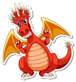 Red dragon cartoon character sticker