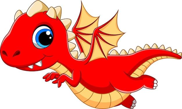 Red dragon cartoon Premium Vector