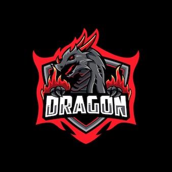 Red dragon esport logo design template