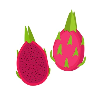 Red dragon fruit, whole fruit and half, vector illustration