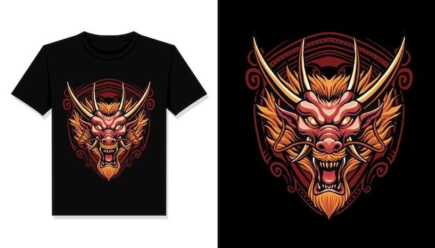 Tシャツデザインの赤いドラゴンヘッド