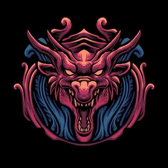 Red dragon head illustration