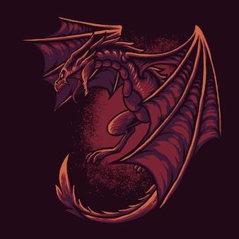 赤いドラゴンイラスト