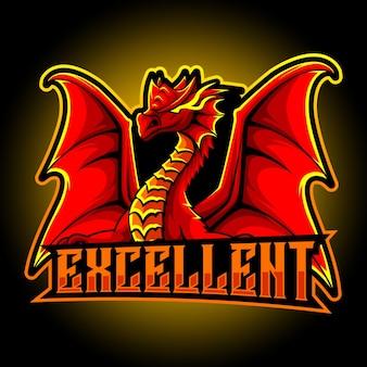 赤いドラゴンのマスコットeスポーツロゴ