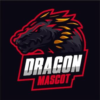 赤いドラゴンマスコットゲーミングロゴ
