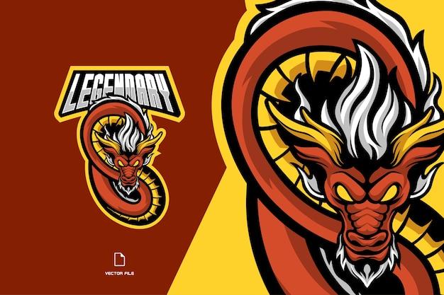 スポーツゲームチームの赤いドラゴンのマスコットのロゴ