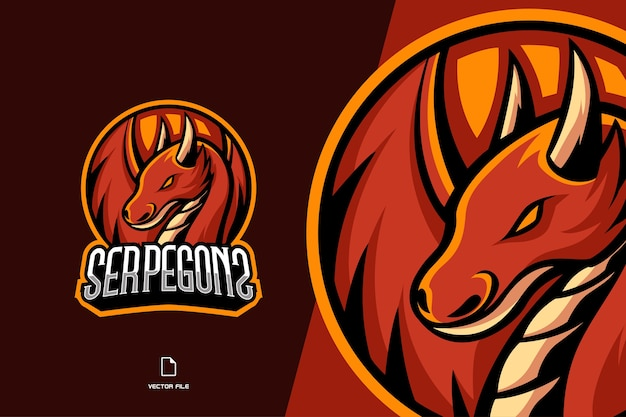 Red dragon mascot logo game logo for esport and sport team template