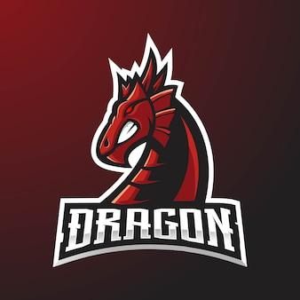 Логотип талисмана красного дракона Premium векторы