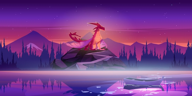 Red dragon on rock with road after sunset