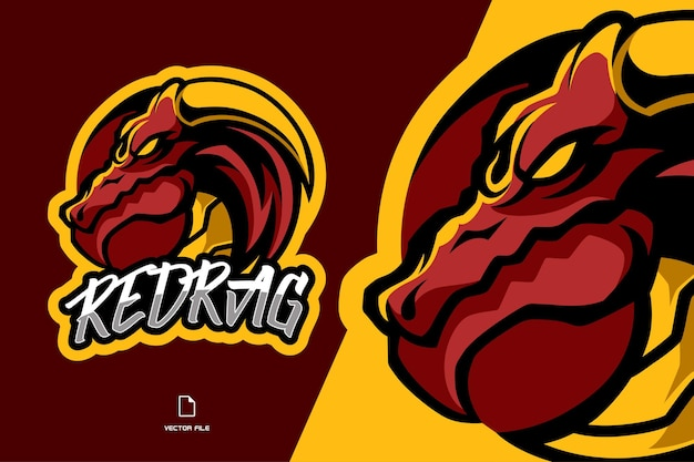 Red dragon with horn circle mascot esport logo