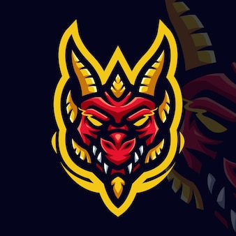 Red dragon with yellow line gaming mascot logo for esports streamer and community