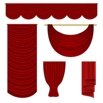 Red drapery set.   realistic velvet textile decoration pelmet drapery  collection. luxury top and side red curtains stage interior decor