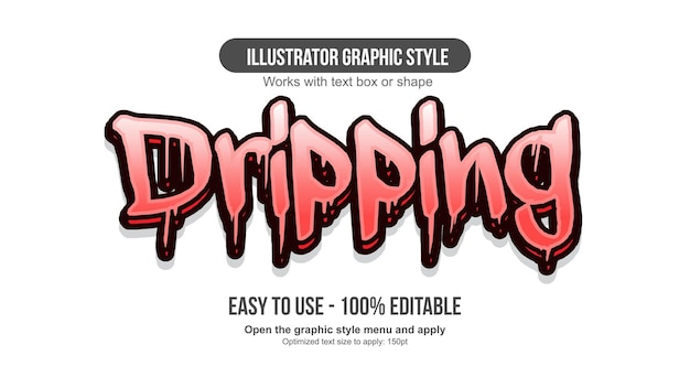 Red dripping 3d graffiti editable text effect