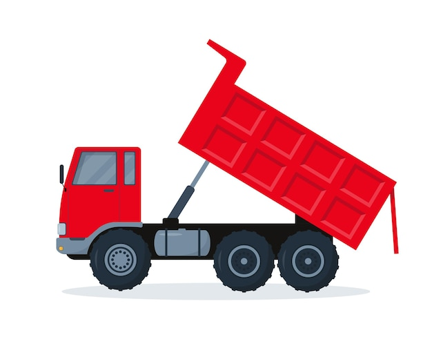 Red dump truck with open body isolated on white background.