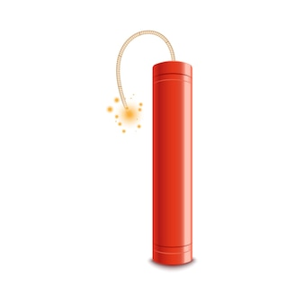 Red dynamite stick with lit fuse ready to explode. fire spark burning on a wick approaching explosive bomb, realistic isolated