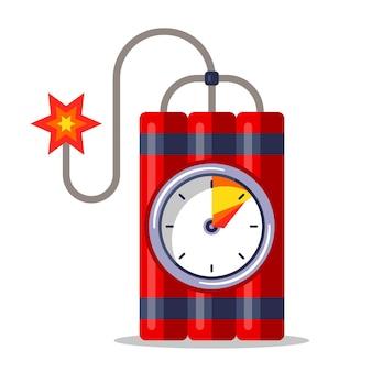 Красный динамит с секундомером и горящим фитилем. плоский рисунок, изолированные на белом фоне.
