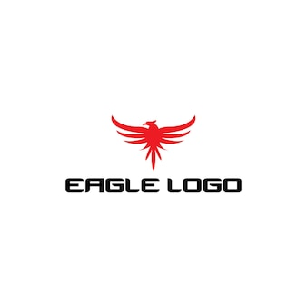Red eagle modern logotype with outstretched wings
