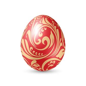 Красное пасхальное яйцо с цветочным узором