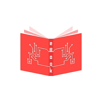 Pcb 요소가 있는 빨간색 전자 책 아이콘입니다. ereader, 태블릿, e-러닝, 가제트, 정기 언론, 학교 교육의 개념. 흰색 배경에 고립. 플랫 스타일 트렌드 현대 로고 타입 디자인 벡터 일러스트 레이션