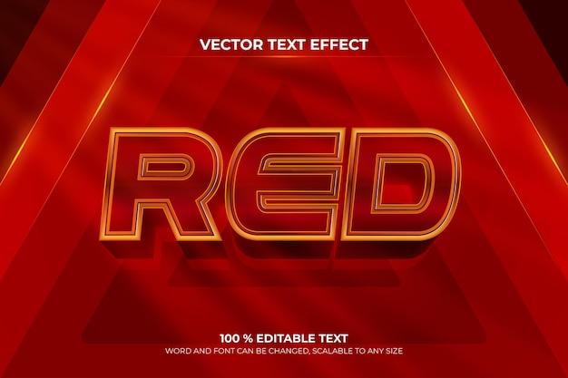 Красный редактируемый текстовый эффект 3d с фоном цвета волны треугольника